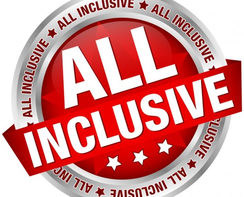 "Button Banner ""All Inclusive"" Red/Silver"